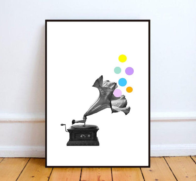 Minimalist art print  black & white art music print surreal image 0