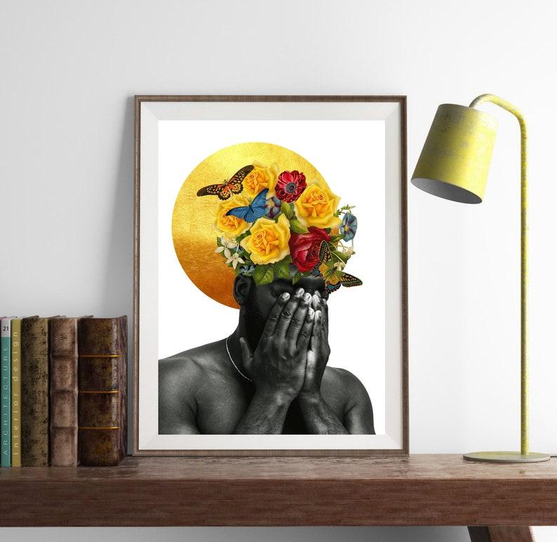 Black beauty print Black man artfloral art afro wall art image 0