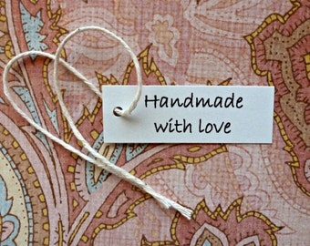 Handmade with Love tags mini tags hang tags gift tags price tags simple jewelry tags product tags shop supplies merchandise tags white tags