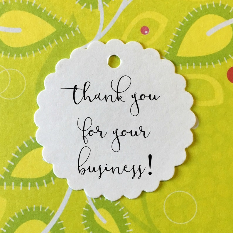 price tags bakers twine ties Mini Thank You Tags business supply scalloped white 1.5 diameter tags for your Etsy shop or retail store