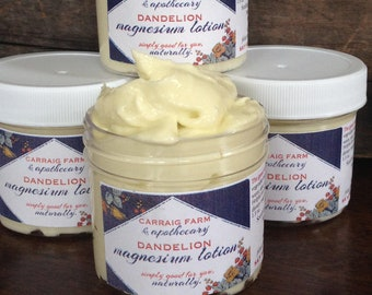 Dandelion Magnesium Lotion - nourishing and natural aid in leg cramps, muscle aches, PMS