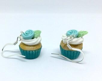 Cupcake Earrings / Robins Egg Blue Cupcake Earrings With Rose