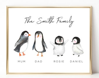 Personalised Penguin Family Watercolour Premium Print Picture A5 A4 /& Framed Options Design 1