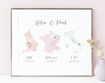 011ac592c Hello Will You I Do, Personalized Wedding Gifts for Couple, Watercolor Map  Print Personalised, Wedding Map Gift Wedding Gift Map, UNFRAMED