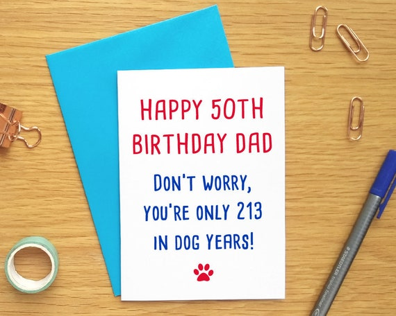 Funny Dog Birthday Card Dad 50th Cards
