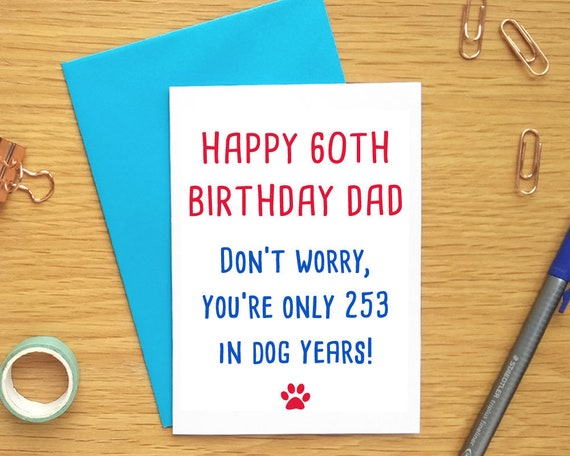 60th Dad Birthday Card Dog Funny