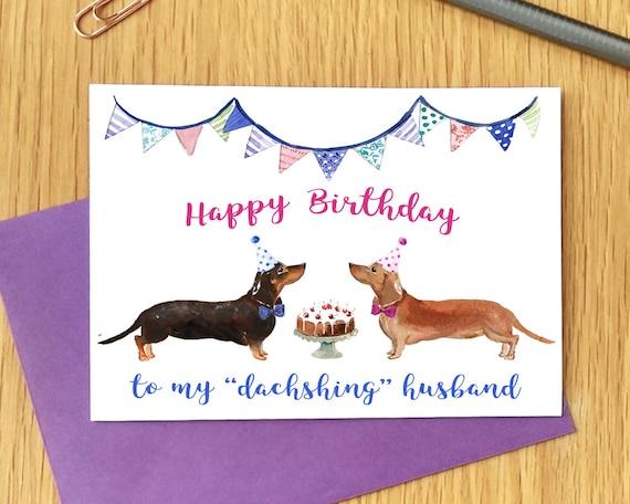 Dachshund Birthday Card for Him Sausage Dog Birthday Card | Etsy