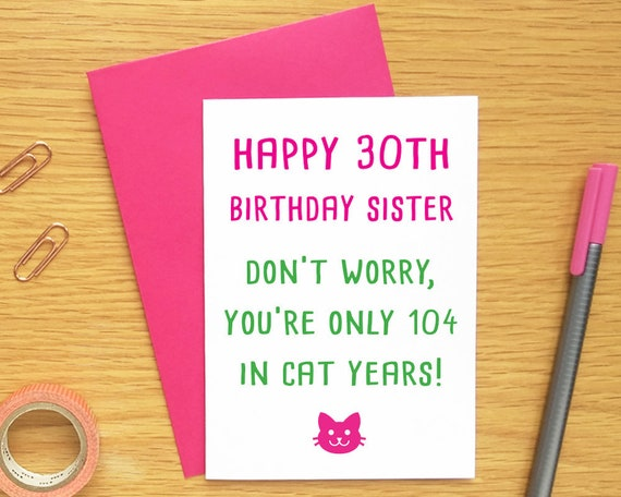 30th Birthday Card Sister Funny Sister Birthday Card Cat Etsy
