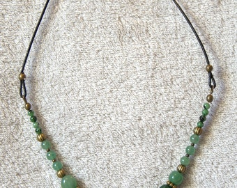 Necklace Aventurine, Ruby zoisite and metal bronze color