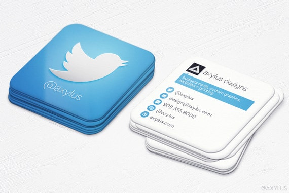 Twitter Business Cards Social Media Square Die Cut Cards Etsy