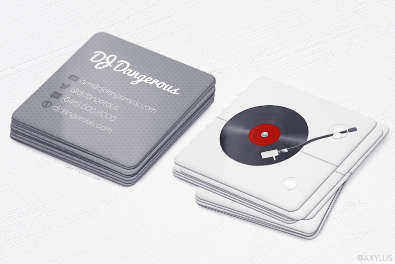Platine DJ Mini Cartes Realiste De Visite Carrees