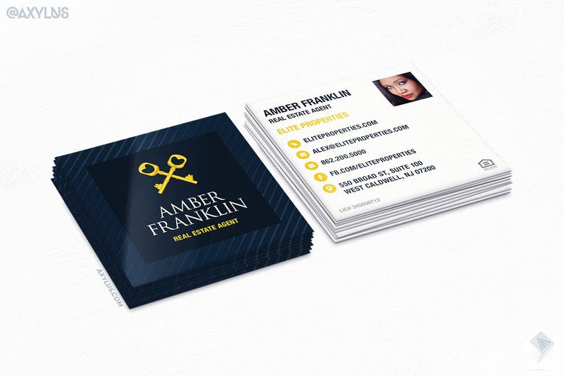 Agent Immobilier Cartes De Visite Or Keys Carre Mini