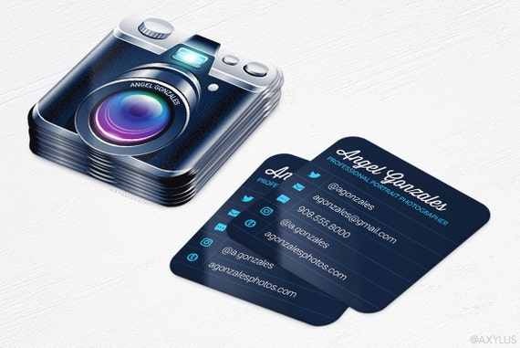 Mini Camera Business Cards Photographer Rounded Corners