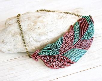 Feather necklace, Ceramic feather pendant, Feather ceramic pendant, Natural pendant necklace, Turquoise mauve necklace, Ornament necklace