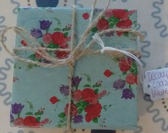 Floral Decoupage Upcycled Coasters