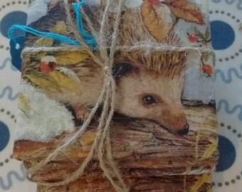 Upcycled Hedgehog Tile Coasters