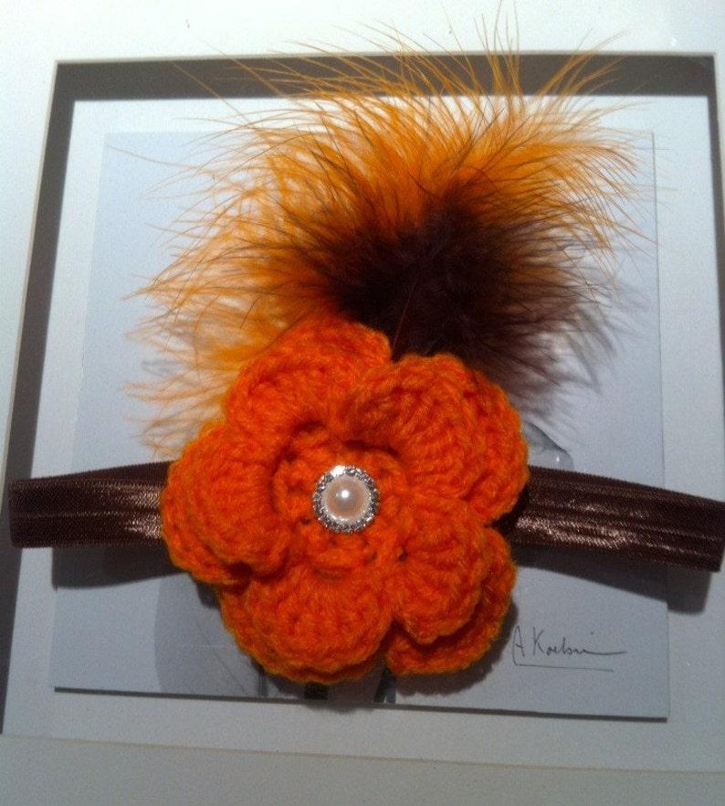 feather headband crochet headband baby halloween headbabd baby orange headband Orange and brown headband crochet flower headband