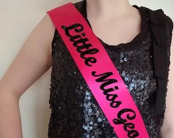 Custom Sash for pageant, graduation or high school cheer etc. Contact us for ideas, children's and teen sizes or plus size sash, just ask.