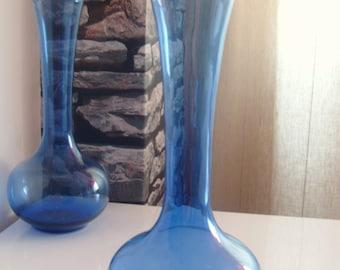 Handmade Blown Blue Glass Bulb Vase