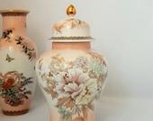 Porcelain Chrysanthemum Flowers Butterflies Jar With Lid, Made in Japan