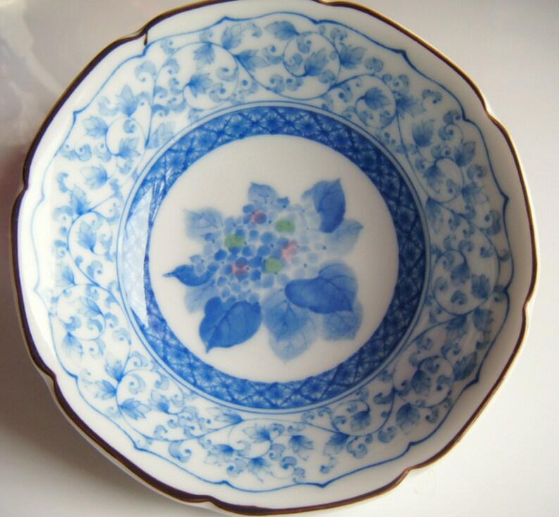 Vintage Blue Flower Bouquet Porcelain Bowl
