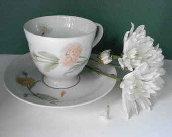 Vintage Footed Cup and Saucer - Flower of The Month Pattern - October by Miksas