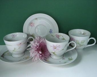 SALE - Vintage Footed Cups and Saucers - Flower Of The Month Pattern by Miksas