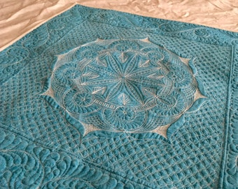 """Quilted Aqua and White Spreadcloth, Tarot Cloth, Table Topper, Wallhanging, 30"""" x 30"""","""