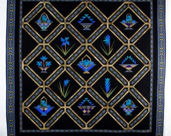 """Baskets 'n Blooms in Blue Queen size bed quilt (90"""" x 90"""")  Heirloom Quality Quilt"""