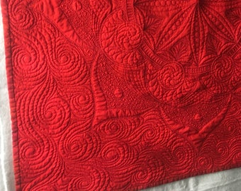 """Custom Red spread cloth or table topper, approx 30""""x30"""""""