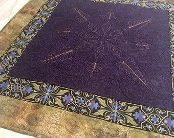 Purple & Gold Starry Night Spread Cloth