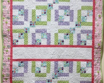 """44""""x56"""" Quilt for Little Girl, Toddler or Baby; Crib Quilt; Lap Quilt; Throw"""