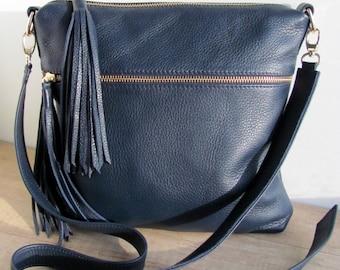 Dark blue leather bag for women Leather tassel purse Custom color Boho handbag