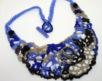 Freeform beaded necklace, beadwork, handmade, Boho necklace, statement necklace, Blue and black Grey Choker, gift for her Unique OOAK