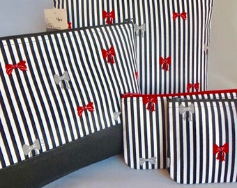 Cosmetic Bag, Travel/Sundries Bag, Zippered Pouch, Stripes and Bows