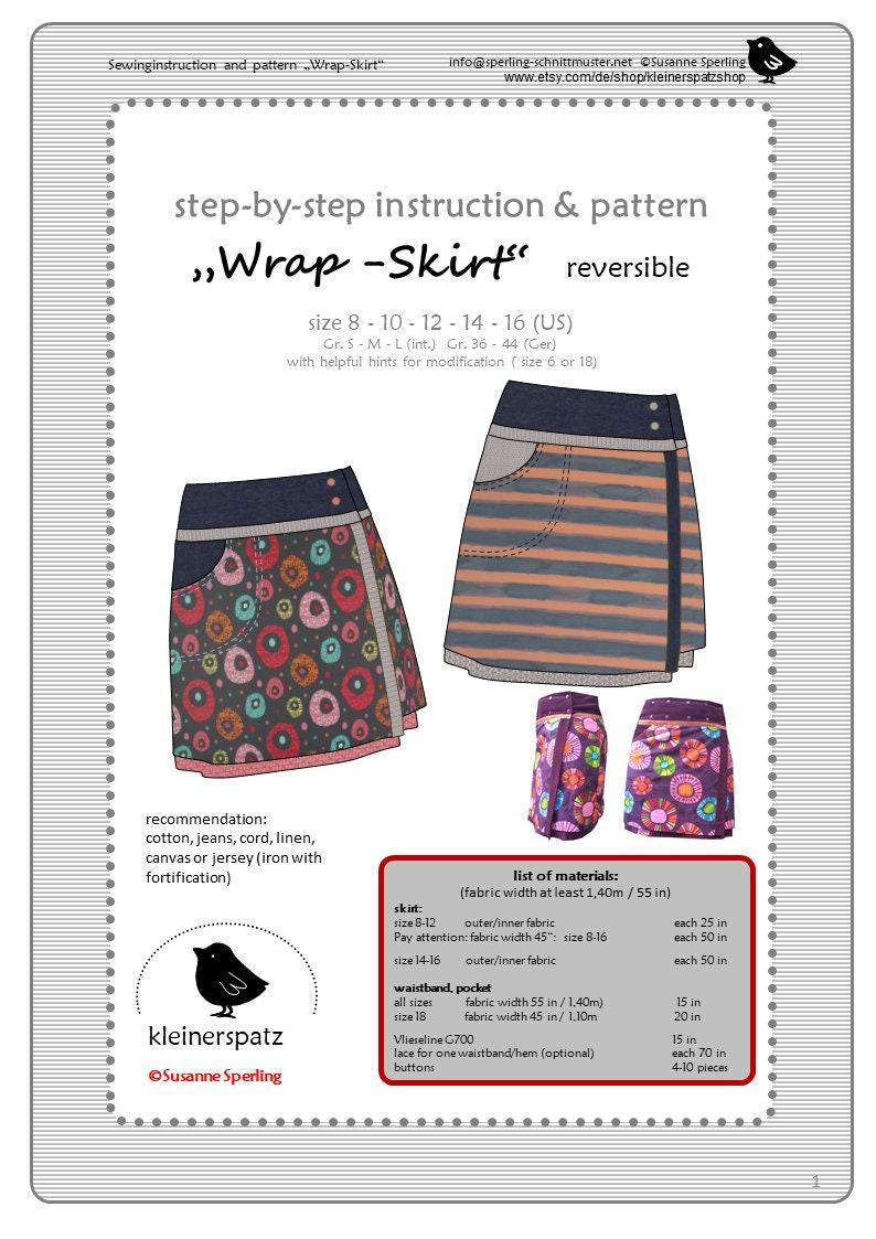 sewing instruction and pattern wrap skirt reversibel