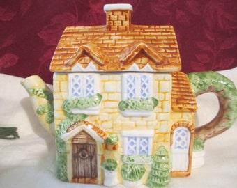 Heritage Mint Ltd. Vintage Porcelain Cottage Teapot Heritage Collectibles Hand Painted