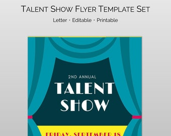 Editable And Customizable Talent Show Flyer Word Pages Template Set For PTA PTO Church Other Groups