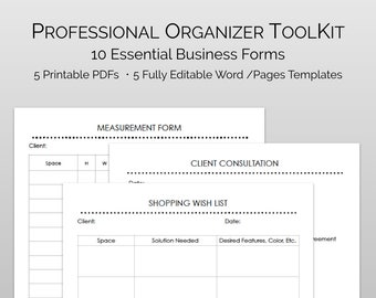 Business form etsy professional organizer forms and business templates essential business forms photography release client form templates client assessment friedricerecipe Image collections