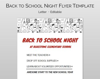 Back To School Night Flyer Word Template Pages For Schools PTA PTO DIY Editable And Customizable