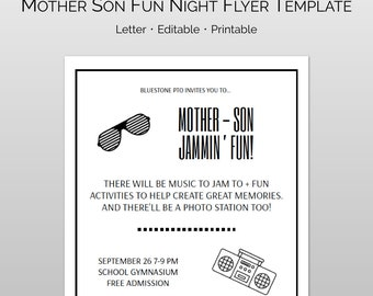 Editable Mother Son Dance Word And Pages Flyer Template Ticket For PTA PTO Church Other Groups DIY