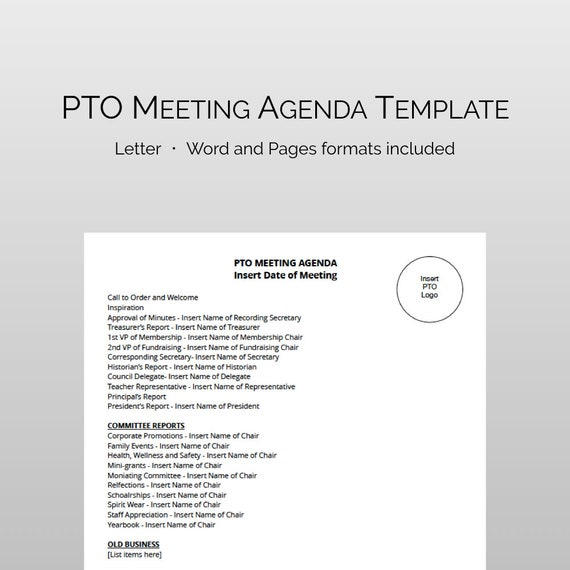 pta pto meeting agenda template fully editable and instant etsy