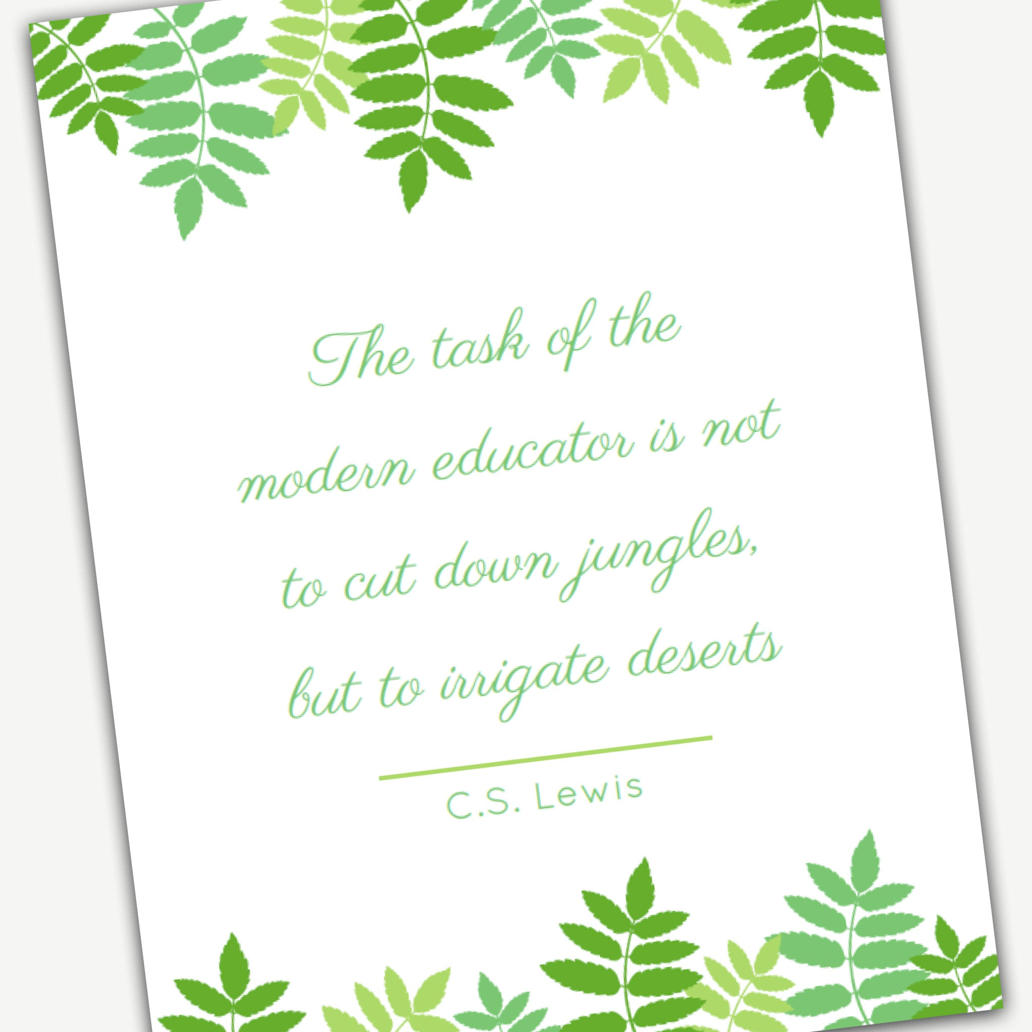 image relating to Printable Teacher Quotes titled CS Lewis Instructor Quotation Wall Artwork Printable, excellent Trainer Appreciation Reward or reward towards the cl