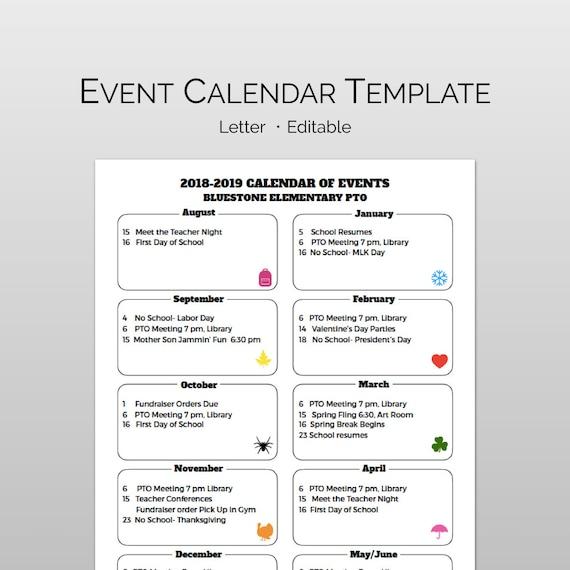 pta    pto calendar flyer template for school calendar of