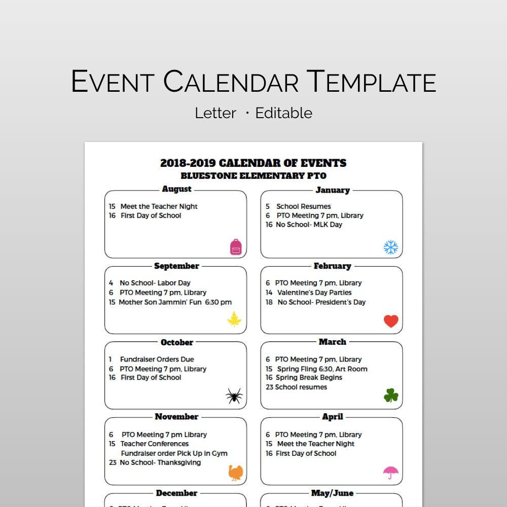 Pta Pto Calendar Flyer Template For School Calendar Of Etsy