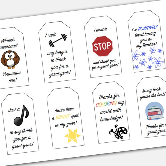 graphic regarding Teacher Appreciation Printable Tags called Punny Instructor Appreciation Printable Present Tag Preset for stop of college or university calendar year features