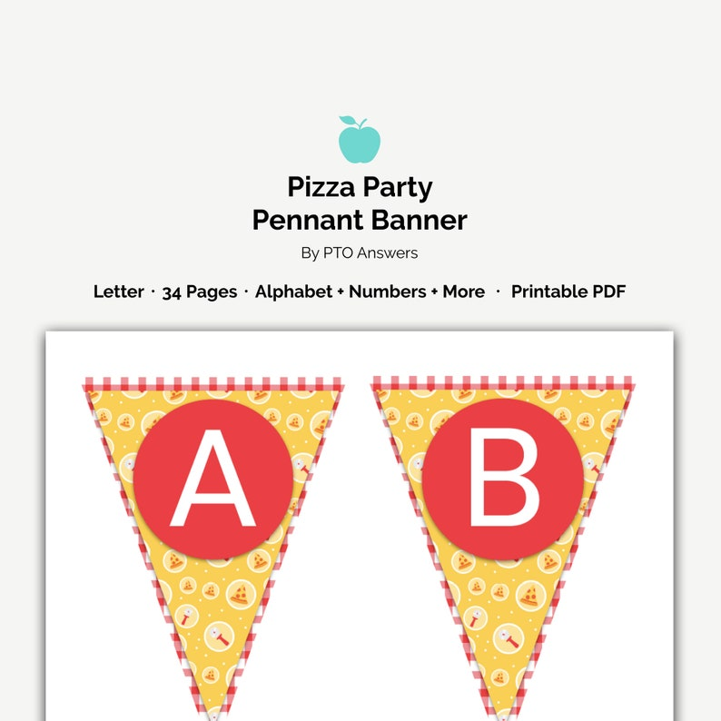 picture about Printable Pennant Banner named Pizza Occasion Pennant Banner, printable garland and bunting decorations, great for Trainer Appreciation 7 days Luncheons