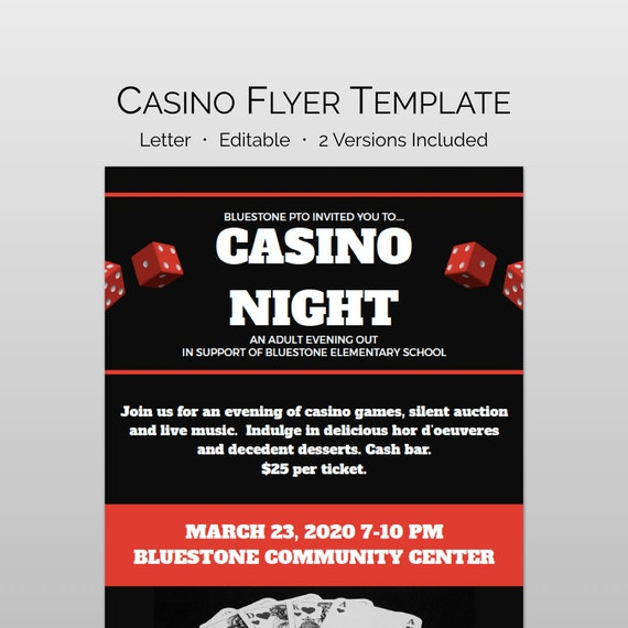 casino night flyer and school fundraiser flyer template