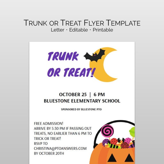 Trunk Or Treat Flyer Template | Trunk Or Treat Flyer Template For Pta Pto Halloween Event Etsy
