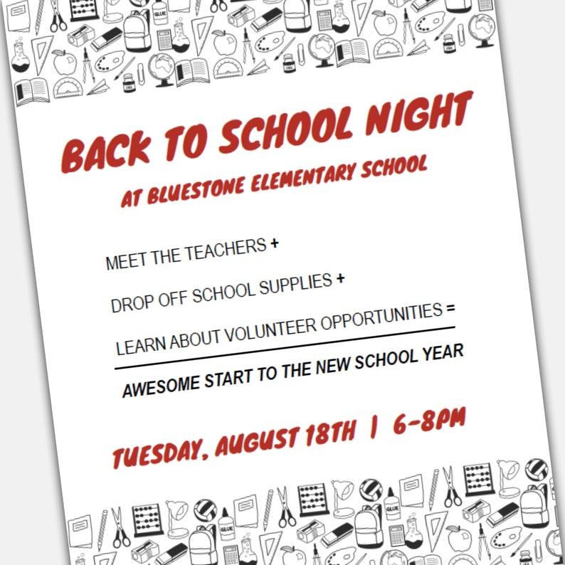 Back To School Night Flier Open House Invitation Flyer Meet Etsy